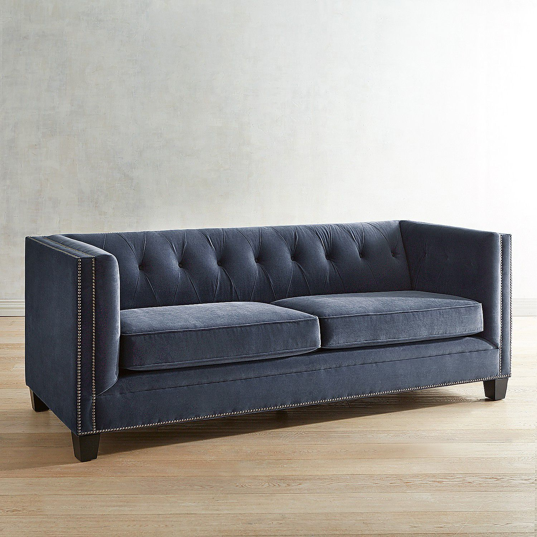 Quinn Navy Velvet Tufted Tuxedo Sofa Pier 1 Imports Blue