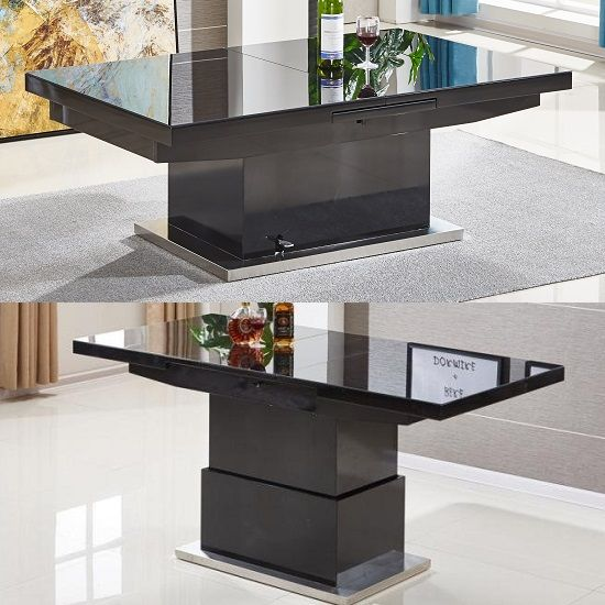 Wondrous Elgin Extending Glass Coffee In To A Dining Table In Black Machost Co Dining Chair Design Ideas Machostcouk
