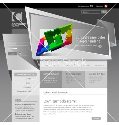 Gray website template 960 grid vector 973519 - by Sooolnce on ...