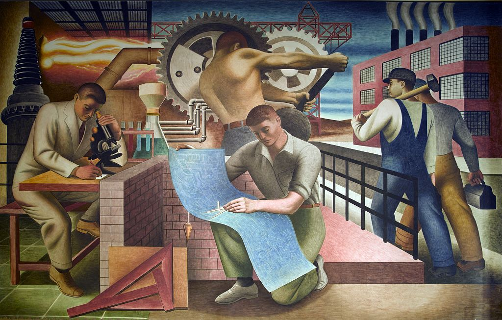 Works Progress Administration (WPA) mural in the Wilbur J. Cohen Federal Building, Washington, DC. December 2008 photo by Carol M. Highsmith. Photograph in the Carol M. Highsmith Archive, Library of Congress, Prints and Photographs Division.