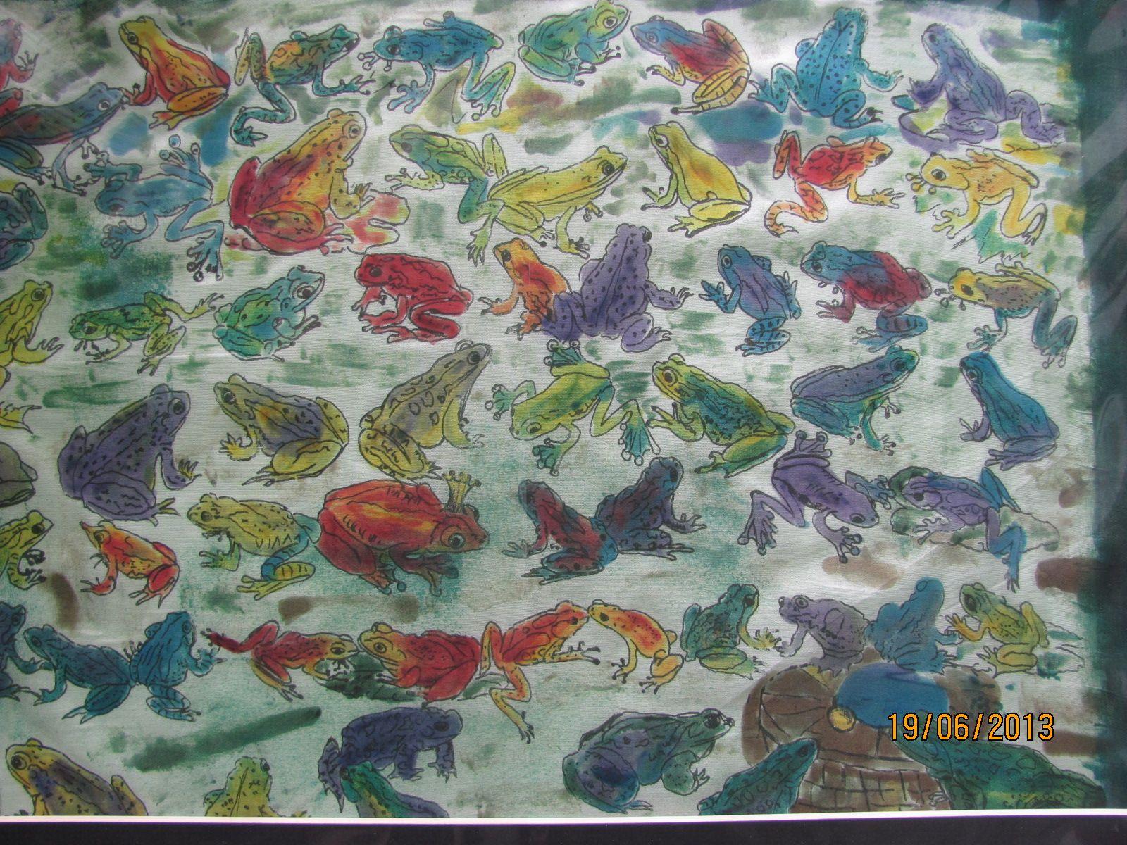 Frösche auf Seide gemalt .........   Ursula Pauly
