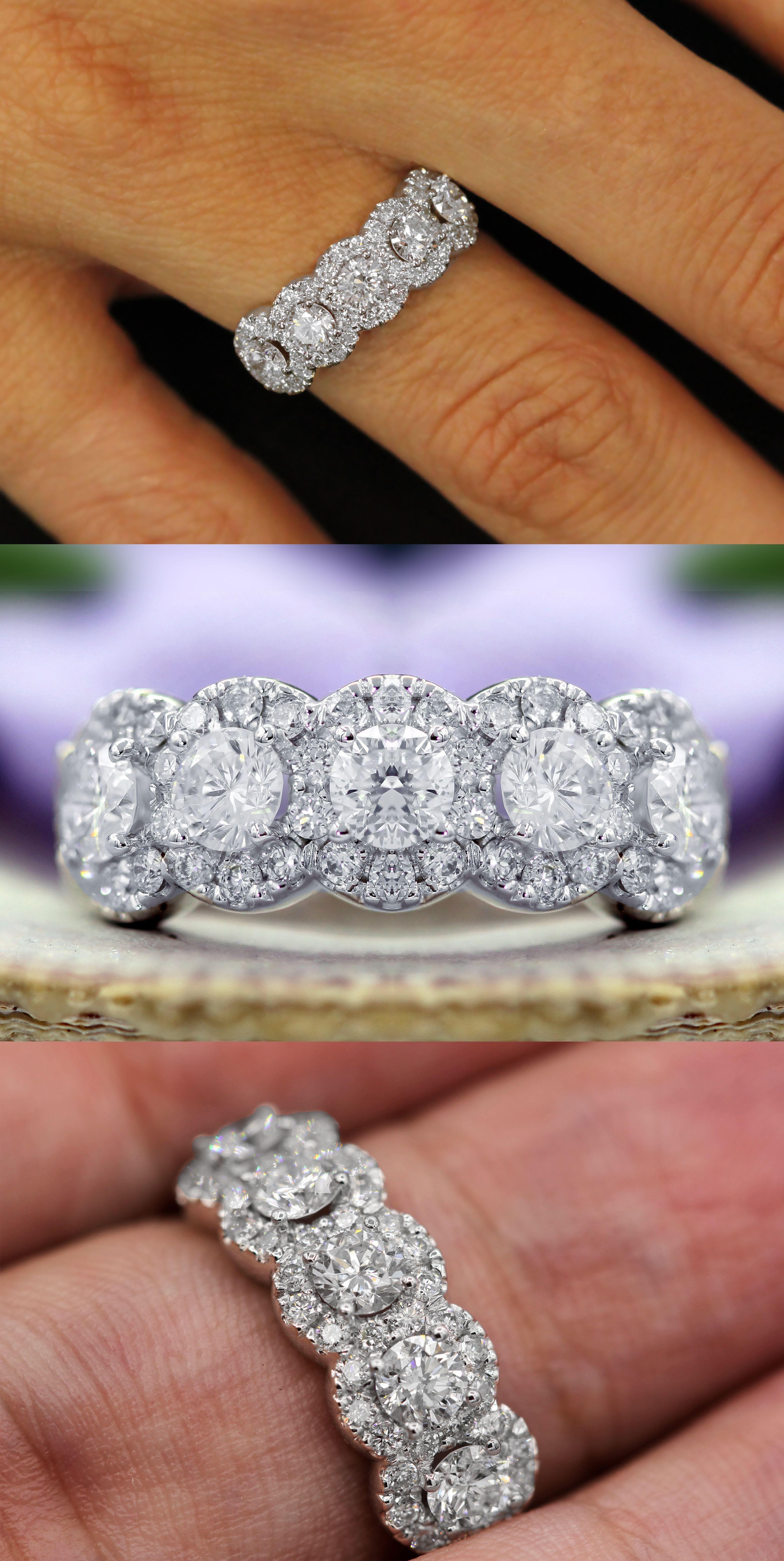 5 Stone Diamond Halo Anniversary Ring Anniversary Rings Diamond Anniversary Rings Diamond