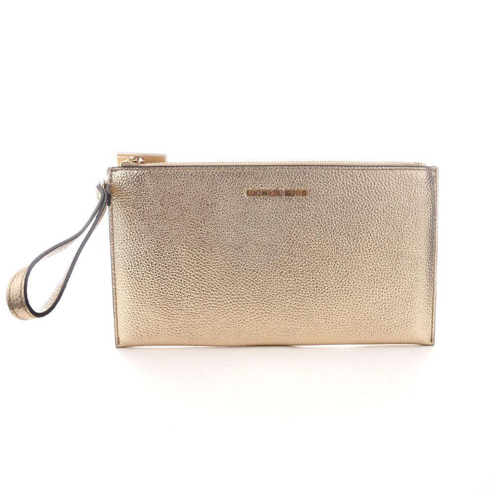 Michael Kors NWT $98 Mercer Large Leather Zip Clutch Pale