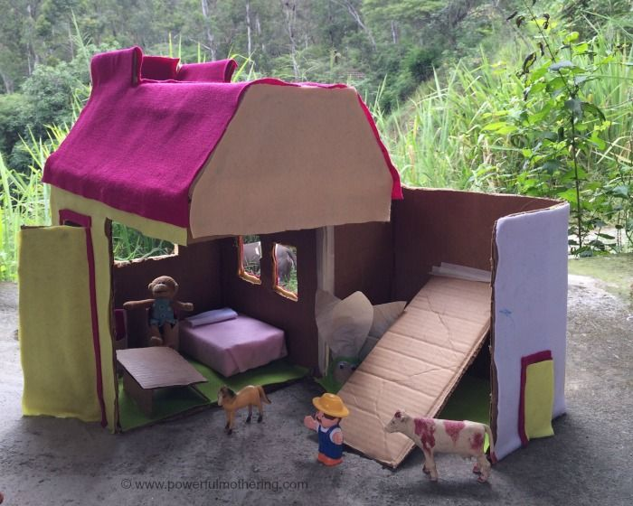 Cardboard Dollhouse Dyi with kids - next projects Pinterest