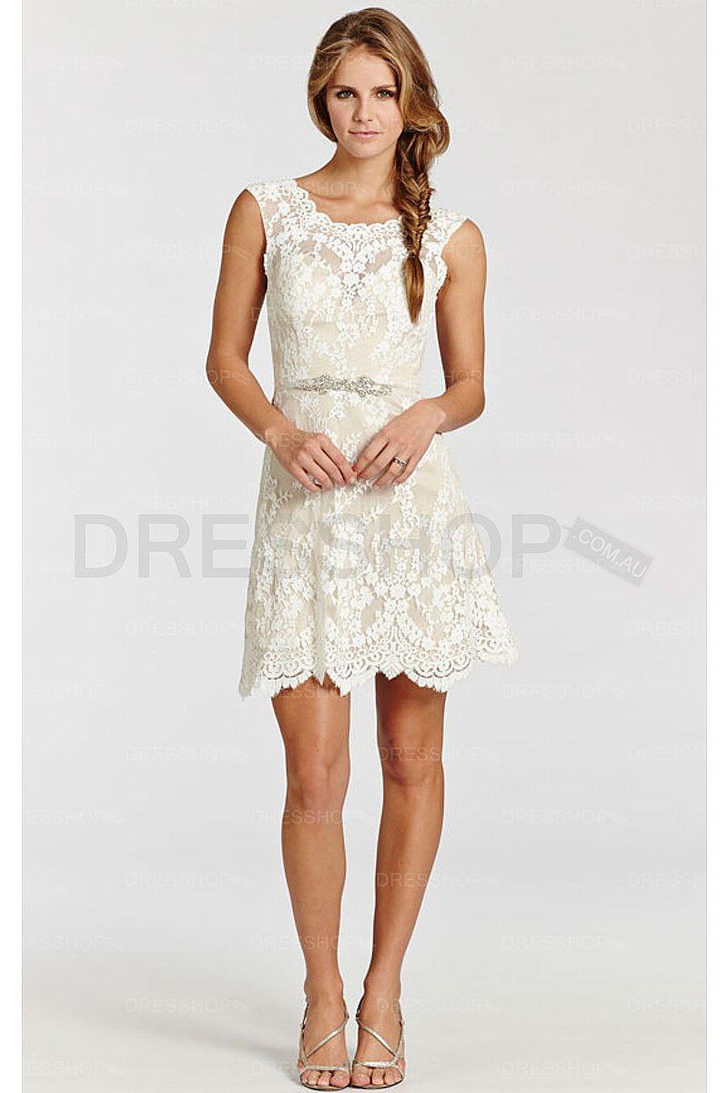 Sweetheart lace zipper short wedding dresses aline wedding