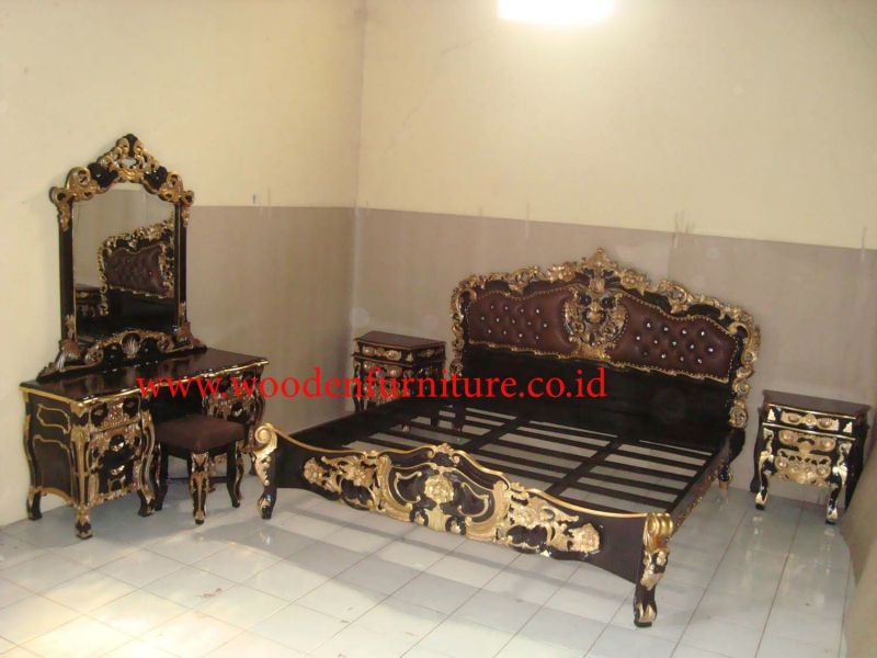 French Style Rococo Bedroom Set Antique Reproduction Upholstered Bed European Home Furniture