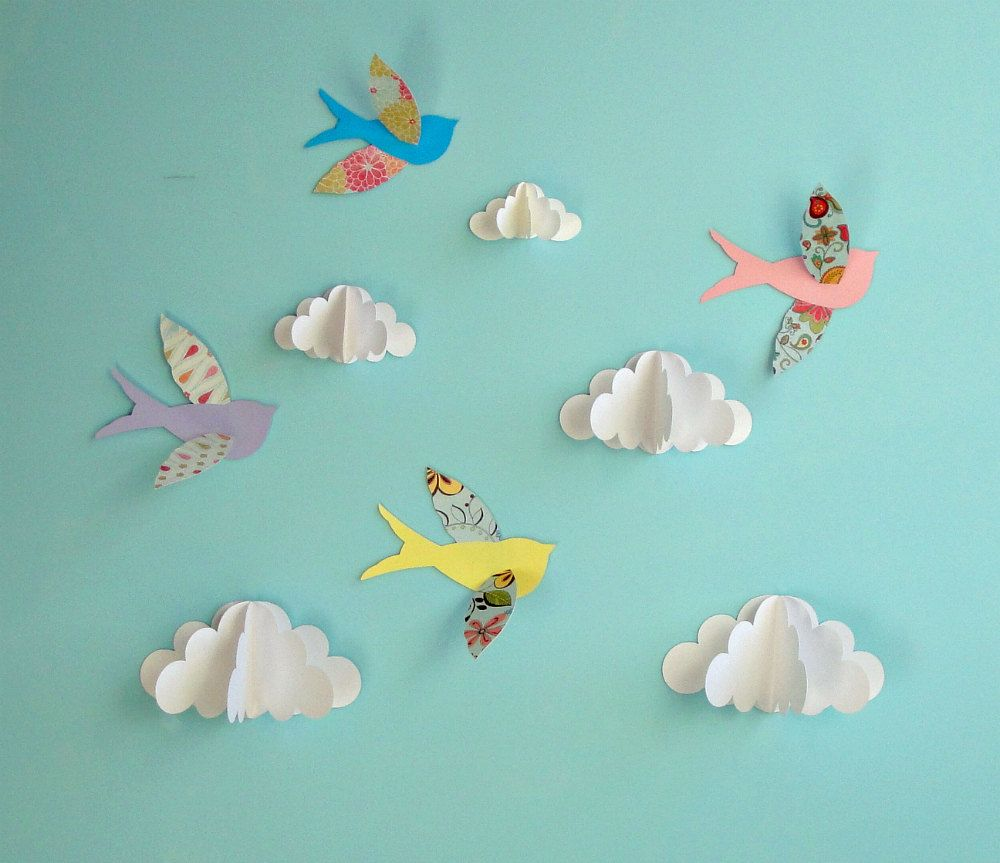 Paper Wall Art birds and clouds - 3d paper wall art/ wall decor/wall decals