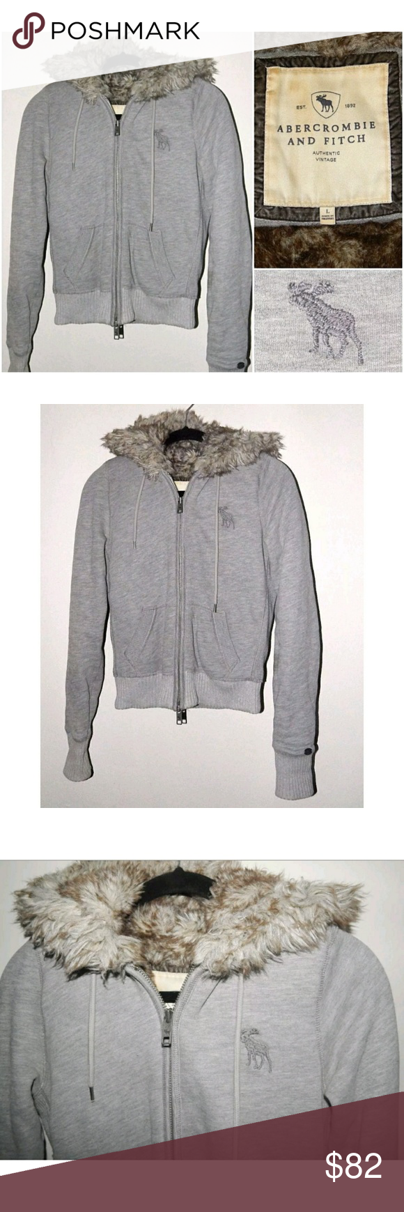 Today Only Price Abercrombie Fitch Faux Fur Abercrombie Fitch Authentic Vintage Hoodie Womens Gra Faux Fur Lined Coat Clothes Design Vintage Hoodies