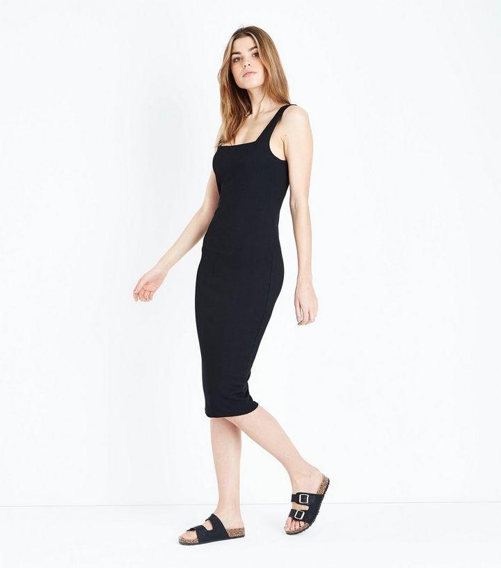 Black Ribbed Square Neck Midi Dress   New Look