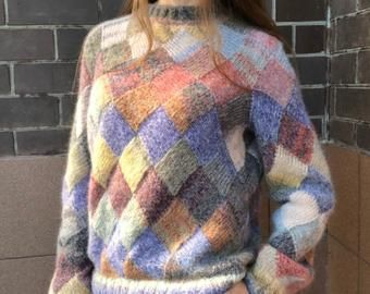 Photo of Mohair sweater, hand knit sweater woman, oversized pullover cozy knitted jumper, alpaca woolly sweater