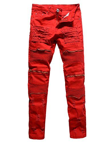 cb612958a291 Men s Distressed Ripped Biker Moto Denim Pants Straight Fit Zipper Jeans  (W32