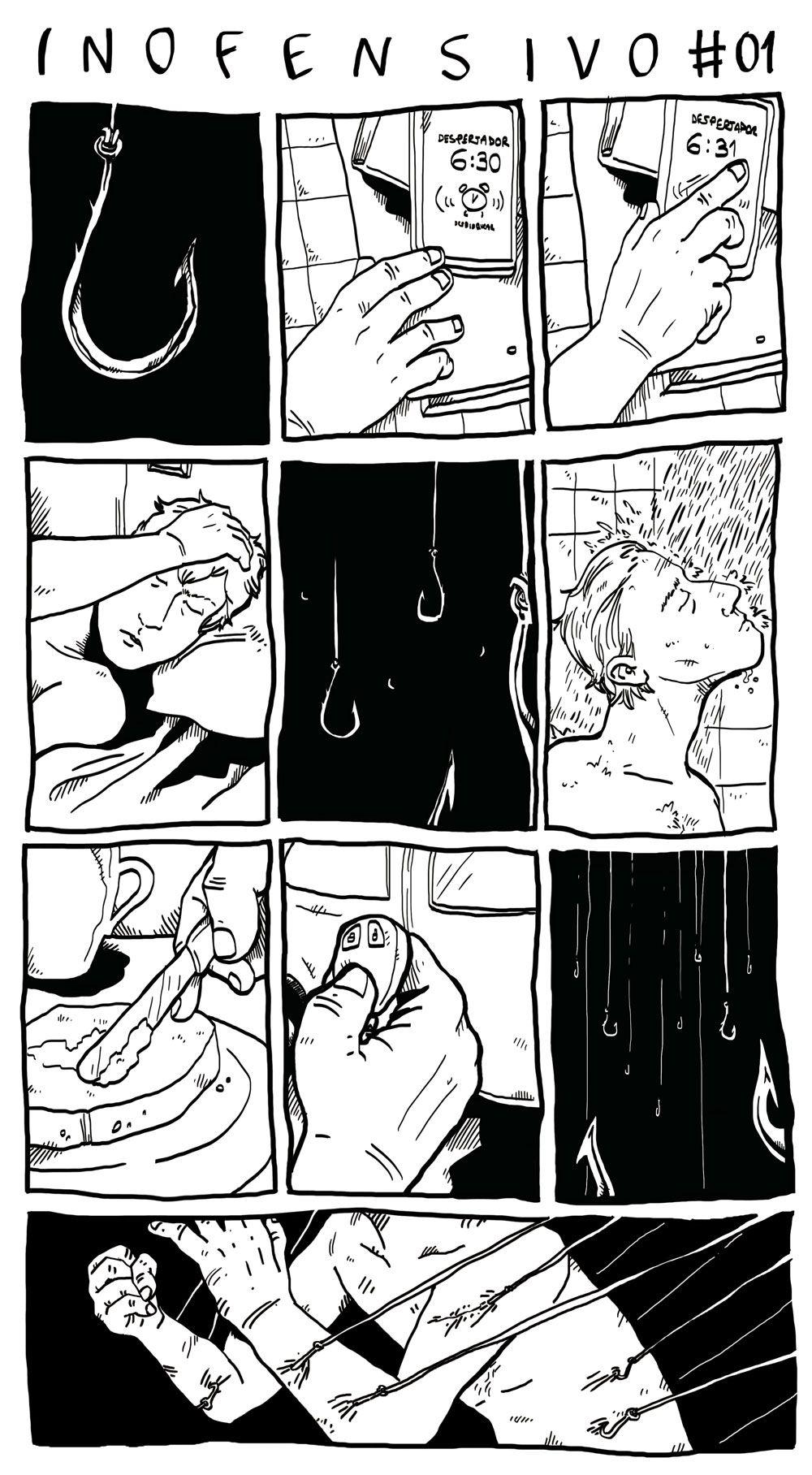 """história em quadrinho da série """"inofensivo""""pequenas reflexões sobre o cotidiano"""
