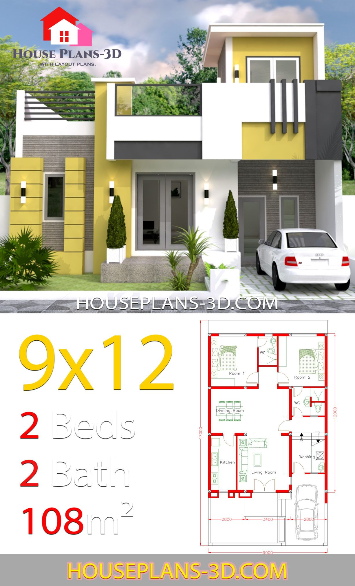 House Design 9x12 With 2 Bedrooms Full Plans House Plans 3d House Plans 2bhk House Plan Small House Design Plans