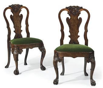 Pair of early 18th century George I walnut side chairs