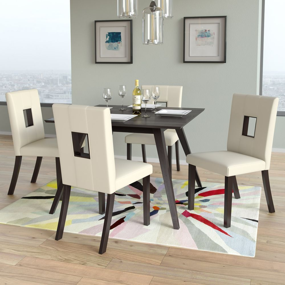 Bistro White Leatherette Dining Chairs Set Of 2 Dining Chairs Dining Chair Set