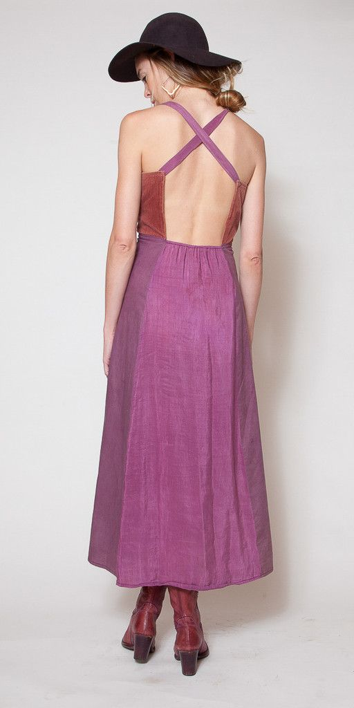 Faded Violet Silk and Cord Dress