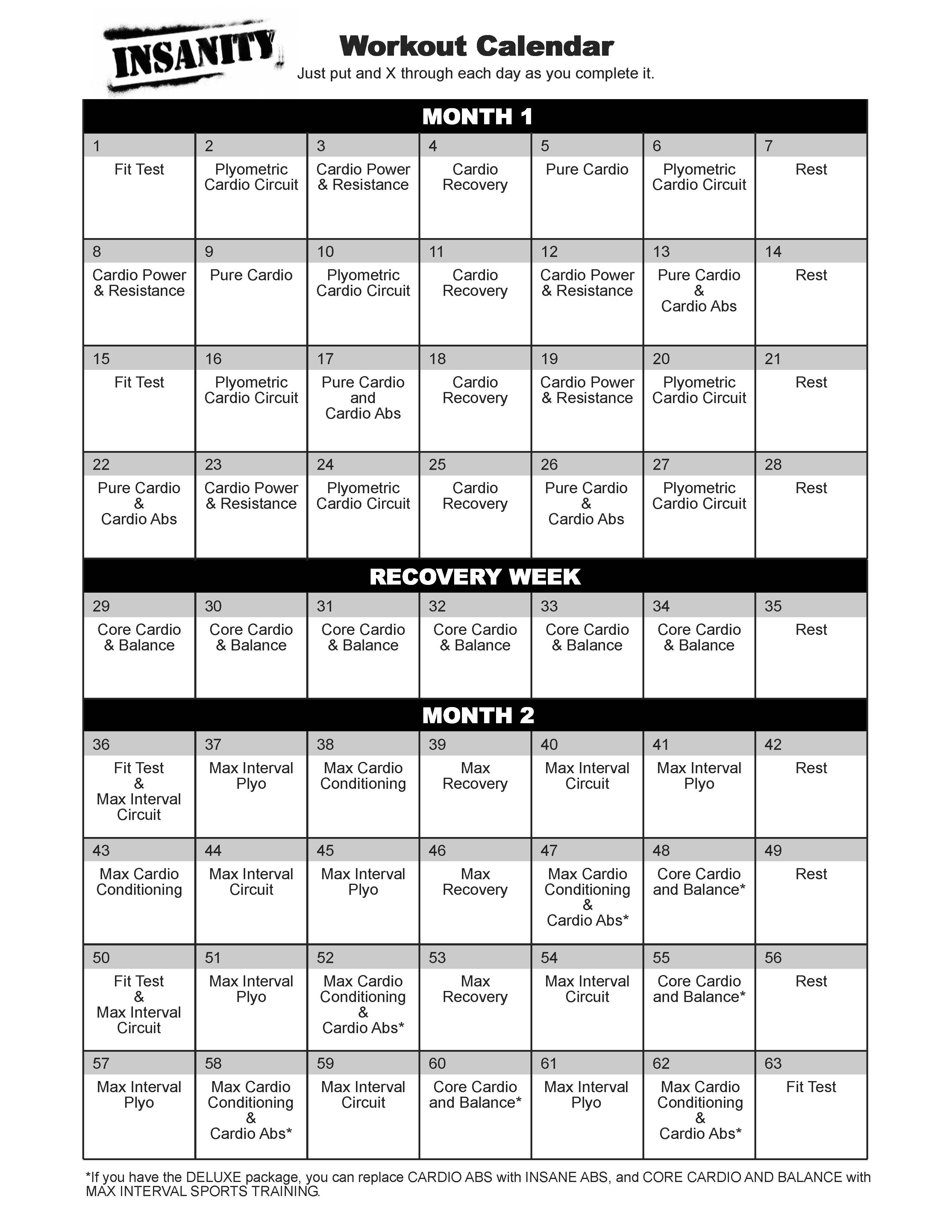 60 Day Insanity Workout Schedule | Mind, Body, and Soul | Insanity