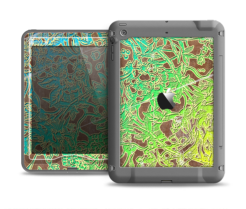 The Bright Green Floral Laced Apple iPad Air LifeProof Nuud Case Skin Set