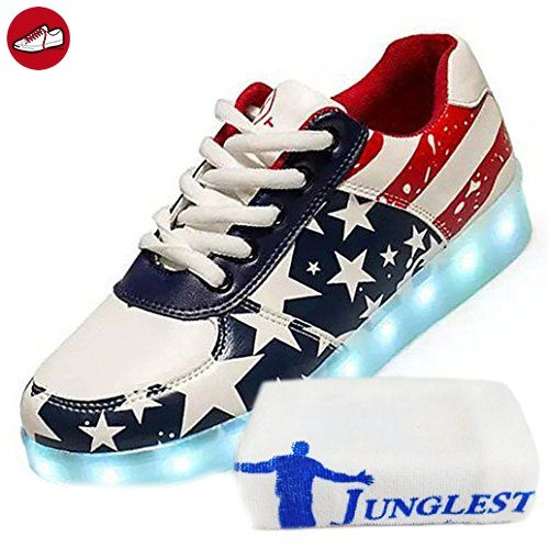 (Present:kleines Handtuch)Weiß EU 37, JUNGLEST® Top mode Sneakers 7 USB Couple Flash Women Shoes Luminous Sport Unisex LED-Licht Casual Charging H