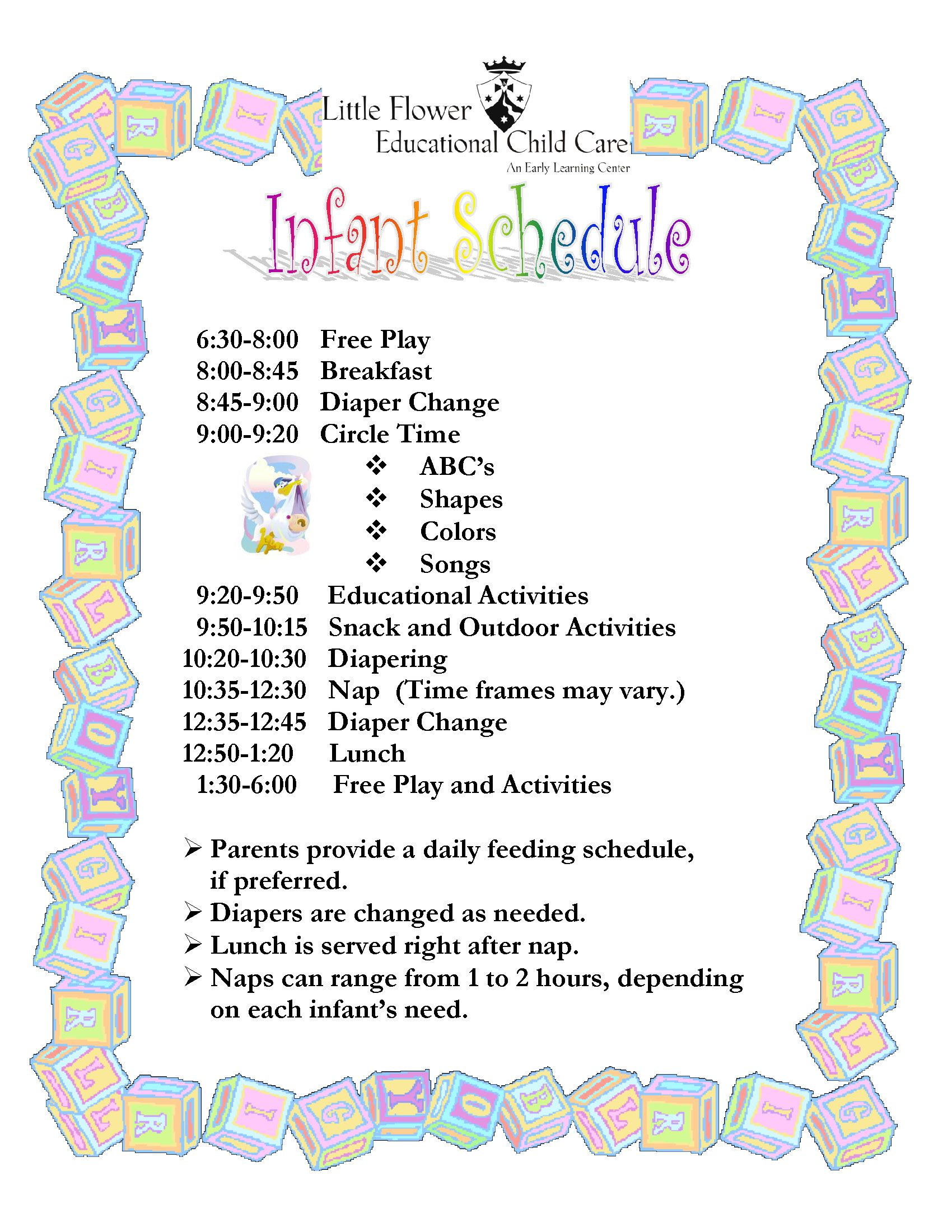 child care daily routine template - infant daily schedule for daycare daily agenda calendar