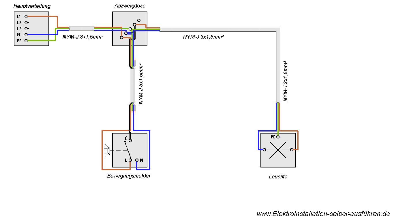 schaltplan eines bewegungsmelders mit einer lampe elektrische schaltungen f r die. Black Bedroom Furniture Sets. Home Design Ideas