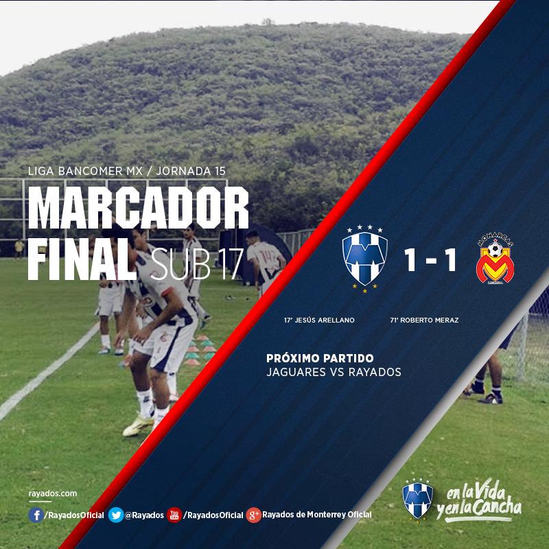Los #Rayados #Sub17 terminaron empatados ante el cuadro de Morelia en la Jornada 15 de la Liga Bancomer MX.