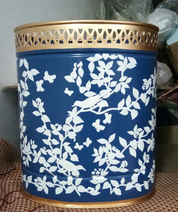 "10/""H Hand Painted Tole Wastebasket//Orchid Planter Black Flower Pattern"