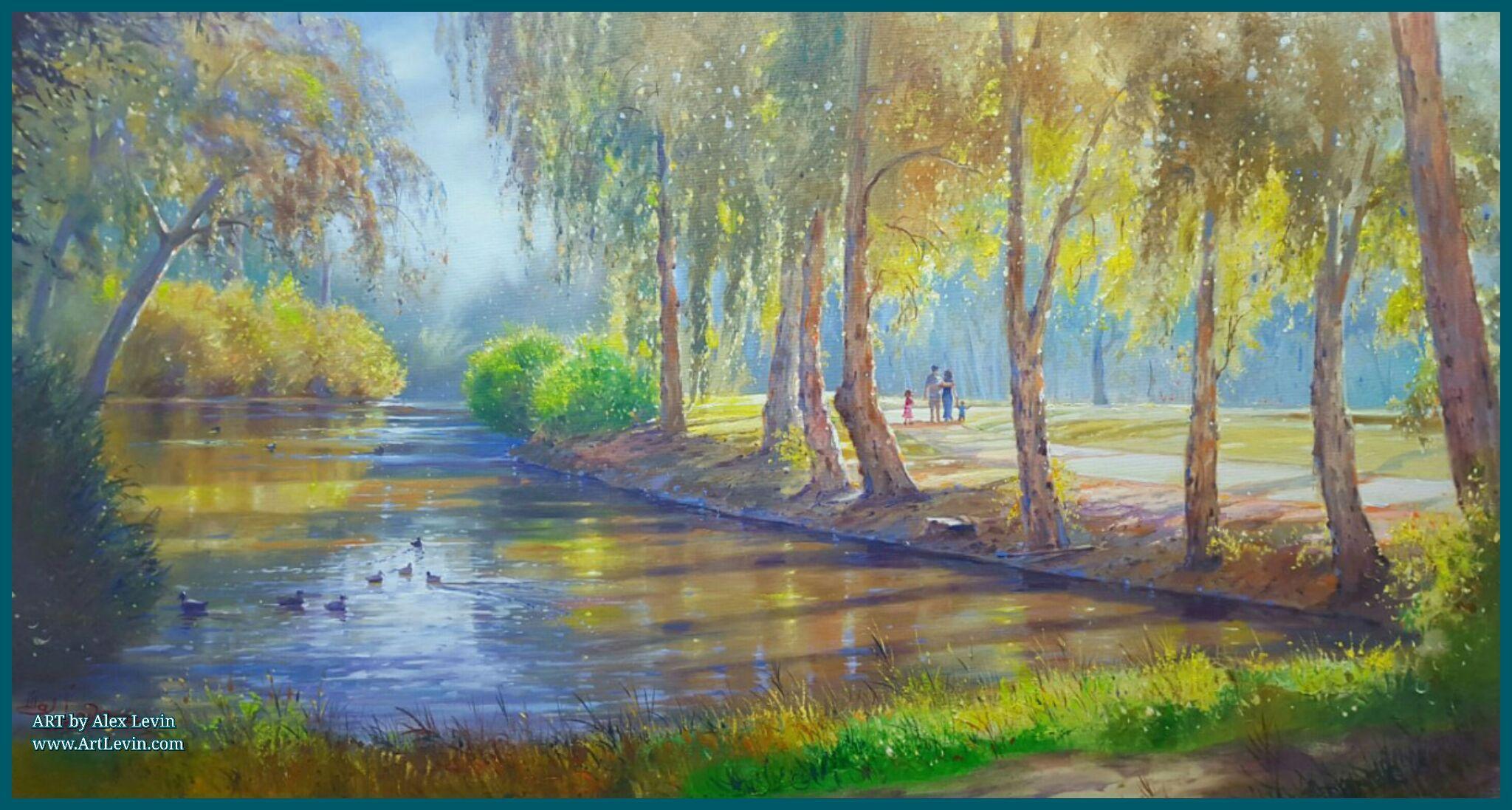 Landscape of Park Yarkon in Tel Aviv Israel nature original signed painting artwork