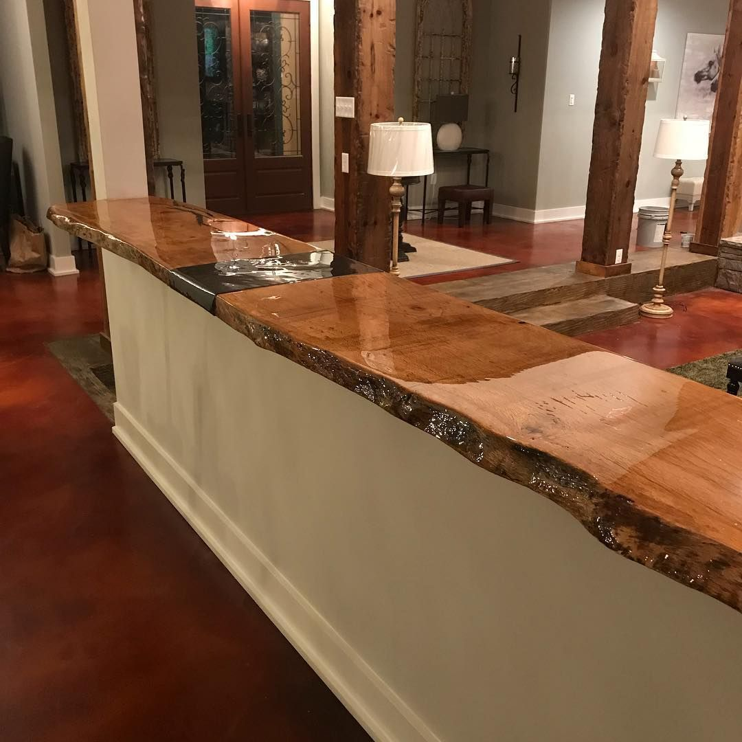 Live Edge Oak Bar Top With Distressed Columns In Background Sinkercypress Liveedge Customtable Furnitur Reclaimed Wood Furniture Live Edge Bar Basement Bar