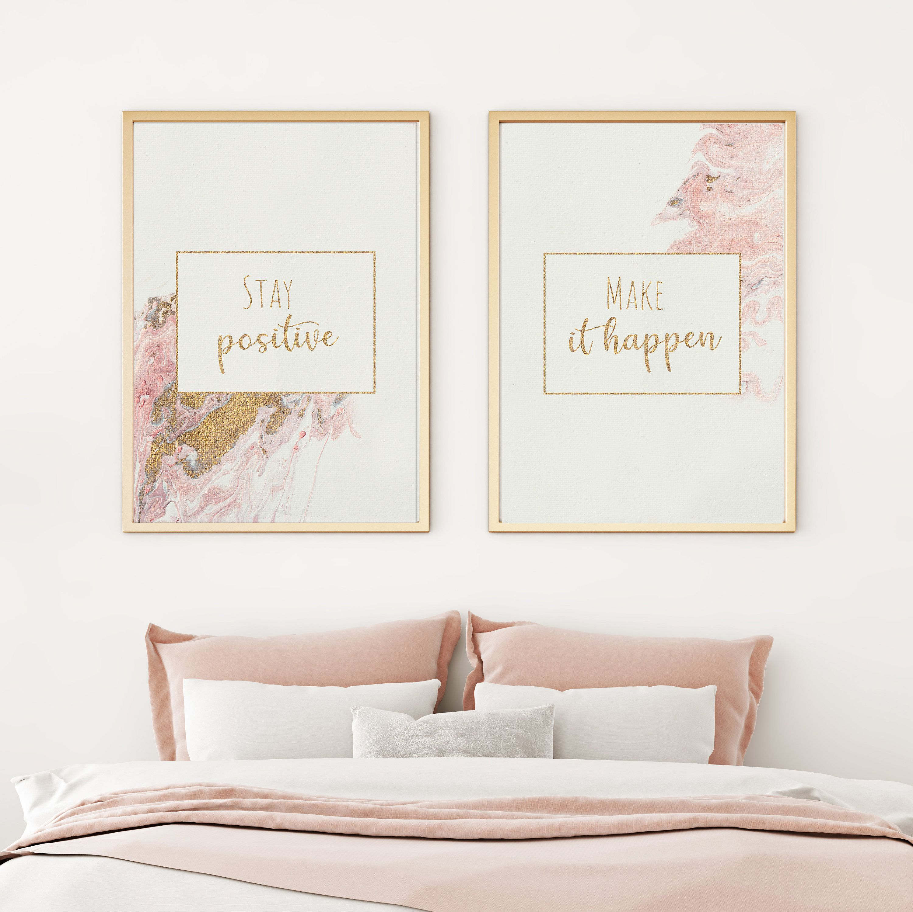 Blush Gold Acrylic Pour Painting Set Of Two Prints For Etsy In 2020 Blush And Gold Bedroom Blush Decor Pink Office Decor