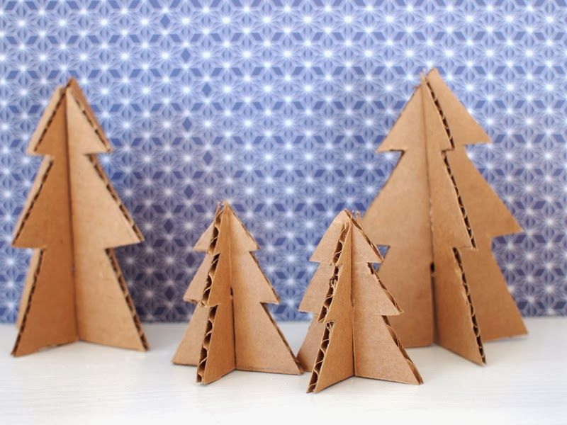 make mini christmas trees from pipe cleaners and cardboard. Black Bedroom Furniture Sets. Home Design Ideas