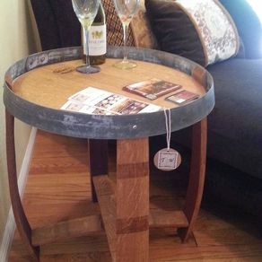 Wine Barrel End Table By Traci White