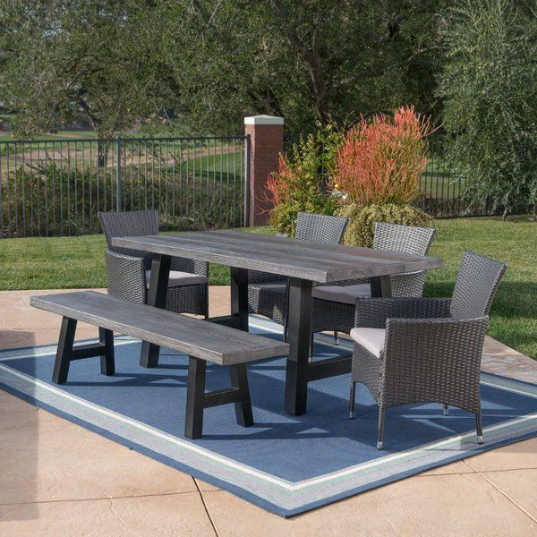 Hudnall Outdoor 6 Piece Dining Set With Cushions In 2019
