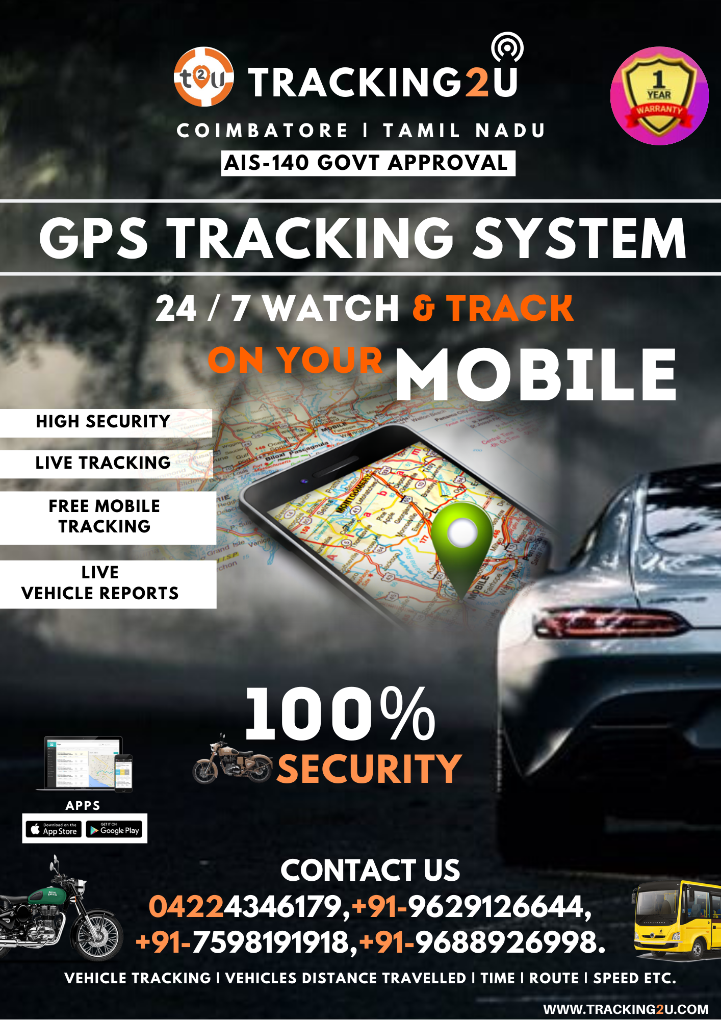 Here, with tracking2u we provide a Vehicle tracking system
