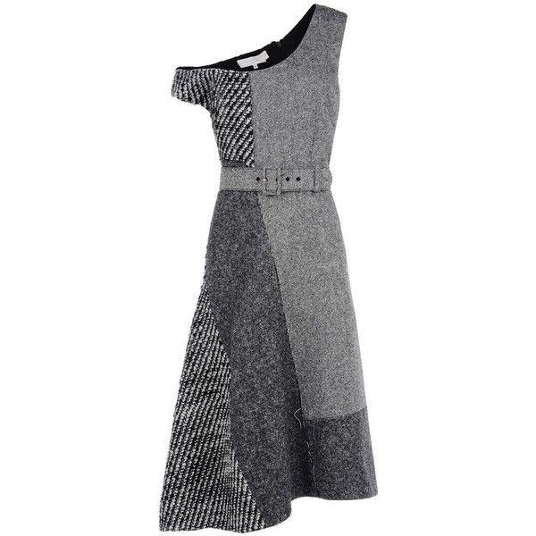 Stella McCartney Tweed Tailoring Jackie Dress (£645) ❤ liked on Polyvore featuring dresses, tweed dresses, stella mccartney dresses, patchwork dresses, stella mccartney and asymmetrical hem dress