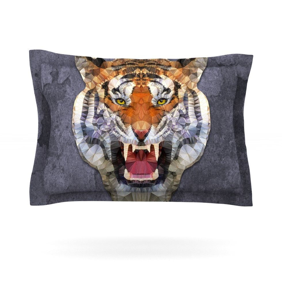 "Ancello ""Abstract Tiger"" Gray Orange Pillow Sham"