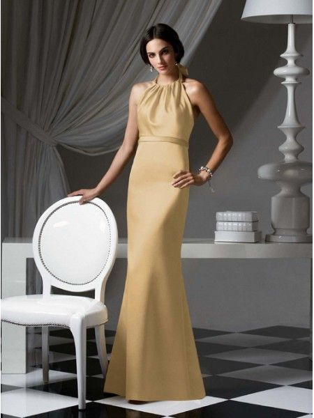 Principal Sponsors - Yellow Round-Neck Floor-Length Satin Evening Dress   Front  42272cfb6