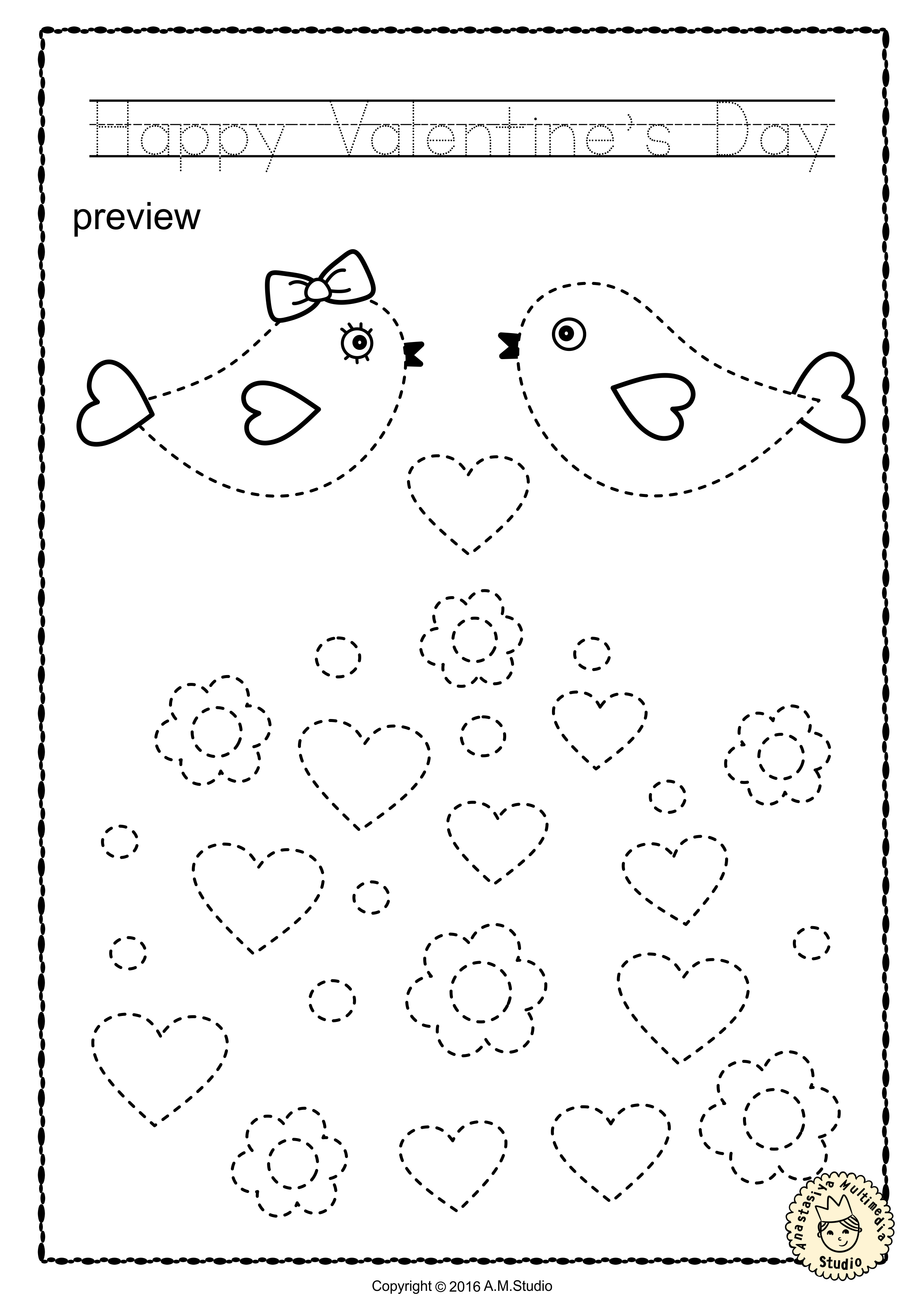 Valentine S Day Trace And Color Pages Fine Motor Skills