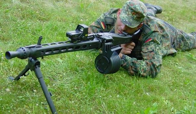 Germansoldier aiming the MG3, fitted with EOTech holosight