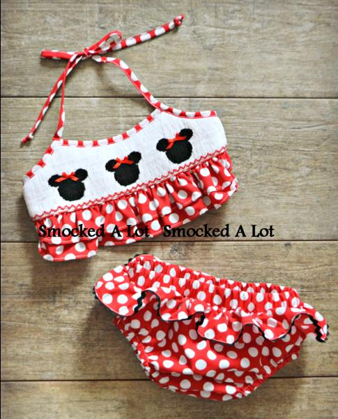 Smocked Minnie Mouse Swimsuit Bikini 2pc Ruffle Red Polka