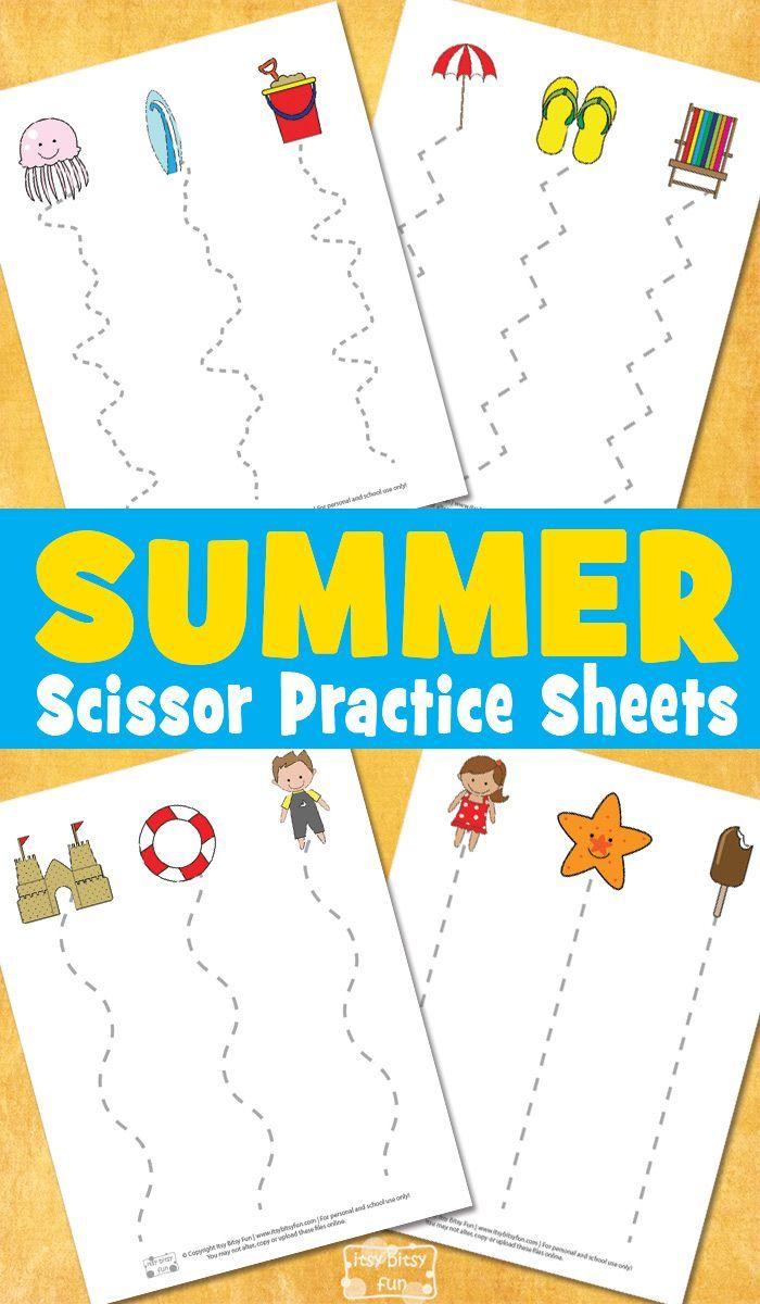 Summer Scissor Practice Sheets Preschool Home Pinterest