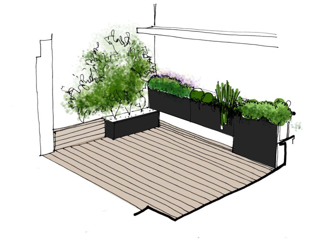 Proyecto para jard n en terraza paisajismo dise o for Planos de jardines
