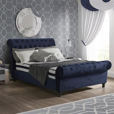 Sareer Fabio Double Velvet Bed Frame Royal Blue In 2019 Upholstered Bed Frame Velvet Bed Frame King Size Bed Frame