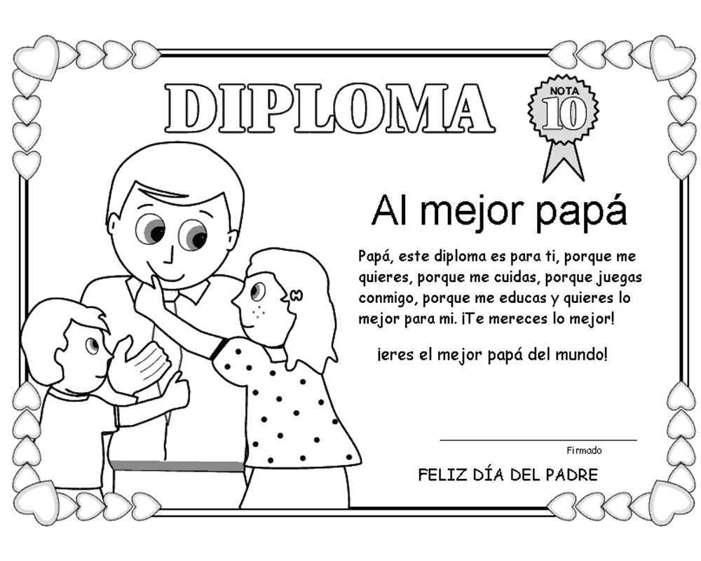Dibujos Del Dia Del Padre Para Colorear Manualidades