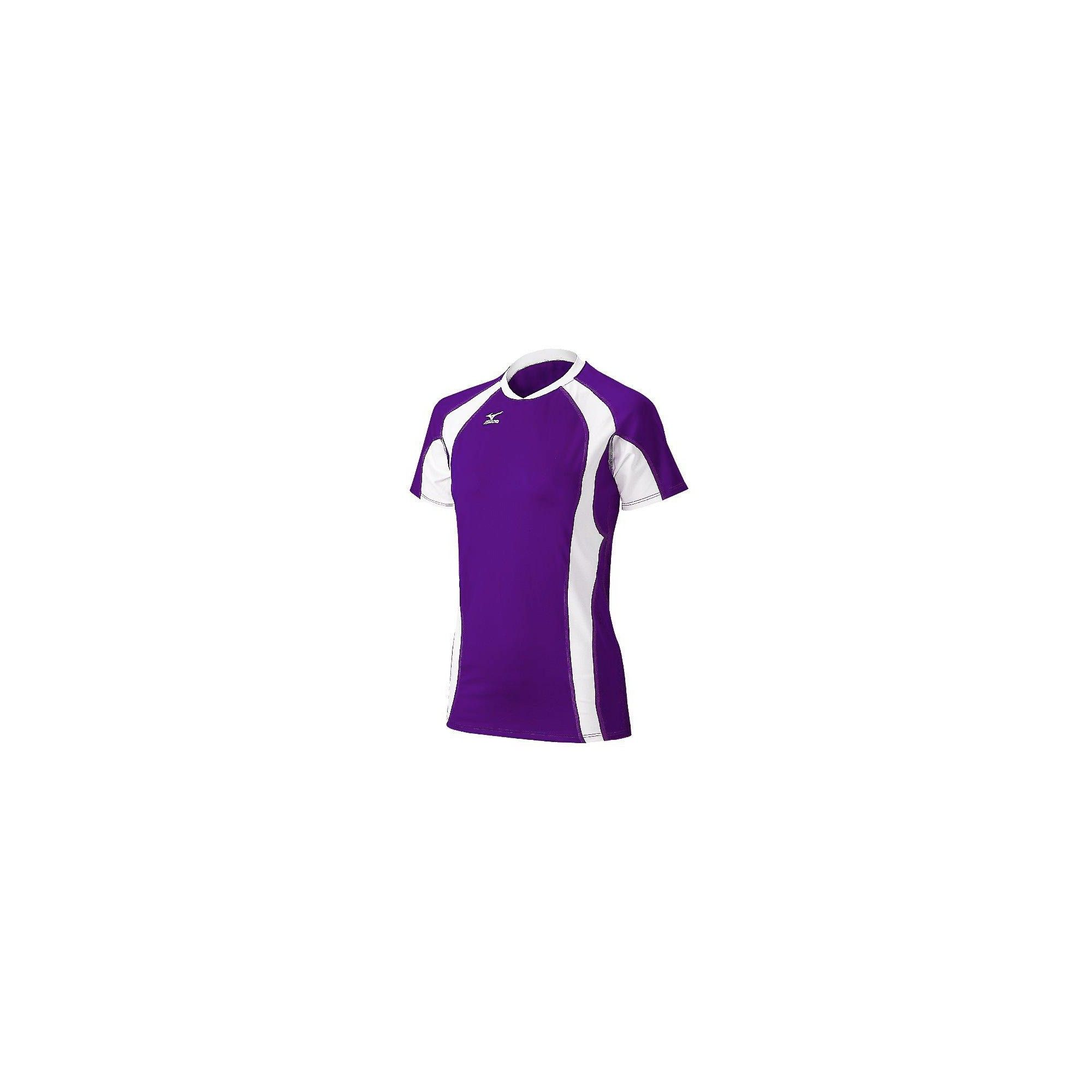 Mizuno Women S Techno Volley V Short Sleeve Volleyball Jersey Size Extra Small In Color Purple White 6 Volleyball Outfits Volleyball Jerseys Women Volleyball