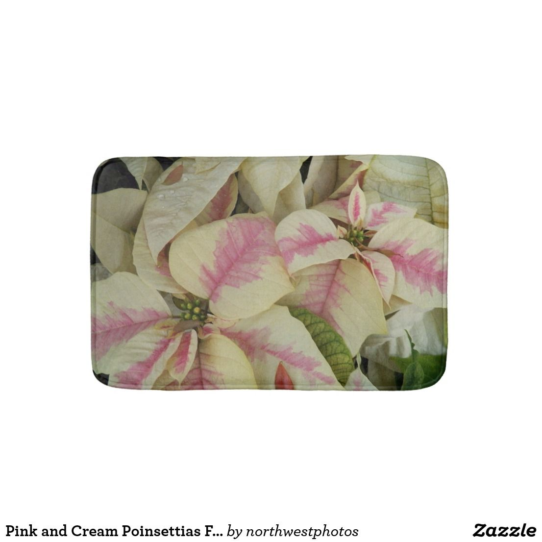 Pink And Cream Poinsettias Fl Bath Mat