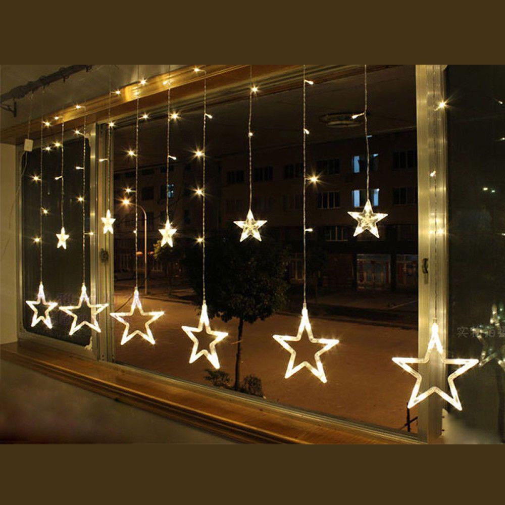 Led lichtervorhang weihnachtsbeleuchtung lichterkette licht fenster deko party m bel wohnen - Led weihnachtsbeleuchtung fenster innen ...
