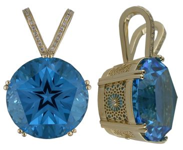 Special Edition Lone Star Blue Topaz and Diamond Screen Pendant by C. Kirk Root Designs
