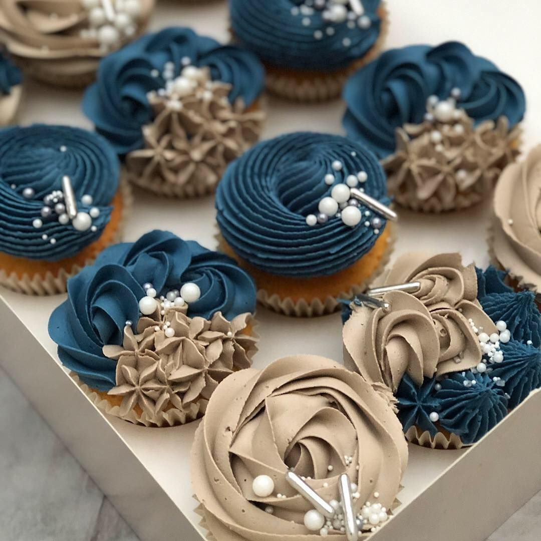 Wedding Cupcake Decorating Ideas: Petrol Blue & Mink 🌟 . . . . . . #cupcake #cupcakes