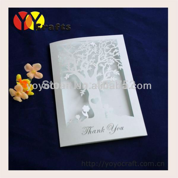 Customizable Invitation Cards Models Laser Cut Tree Design